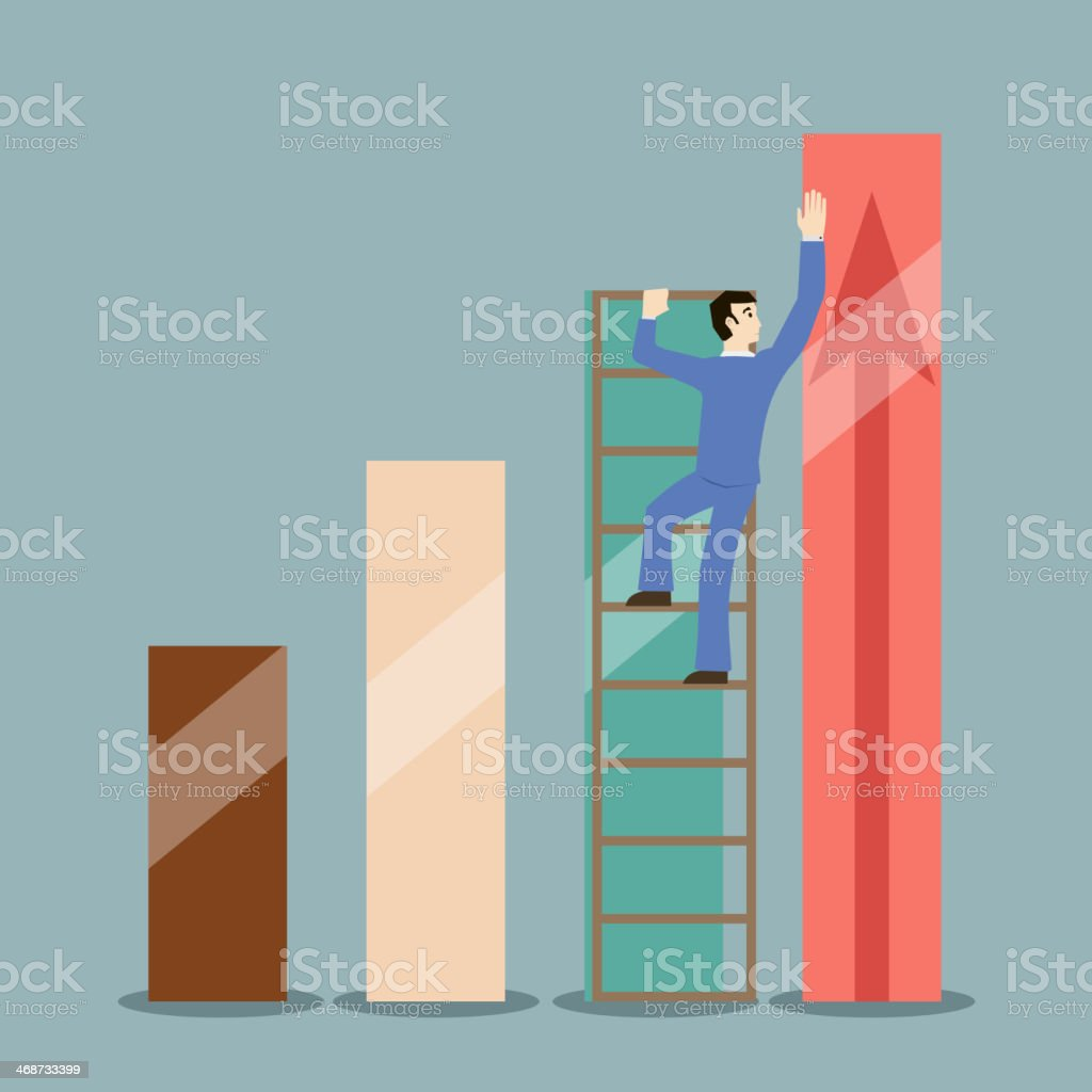businessman stretches infographics heights rating vector royalty-free stock vector art