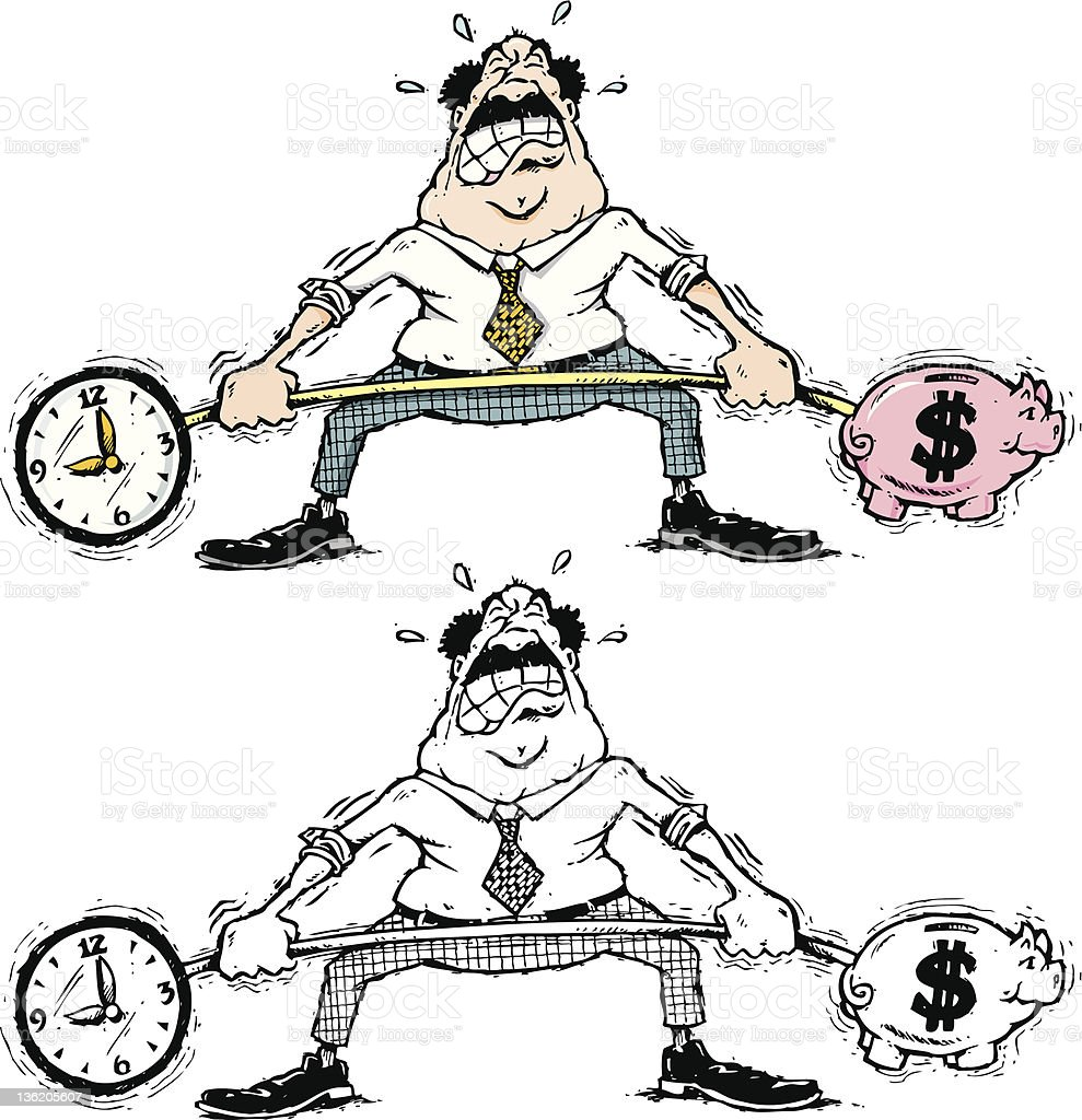 businessman struggling with time and money royalty-free stock vector art