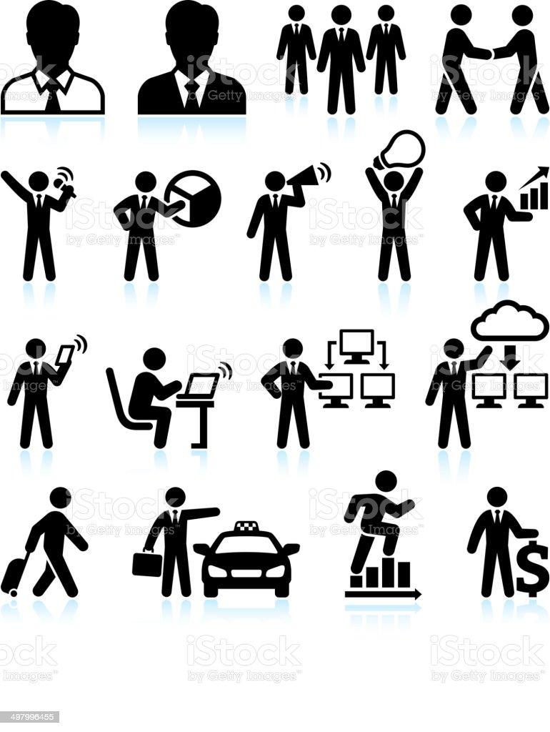 Businessman Success black & white royalty-free vector interface icon set vector art illustration