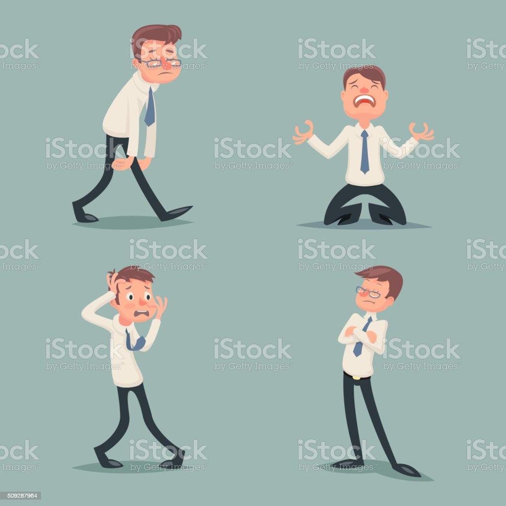 Businessman Suffer Emotion Fear Horror Depression Sadness Anger...