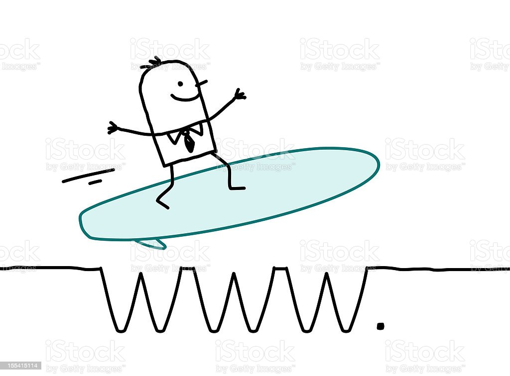 businessman surfing on the web royalty-free stock vector art