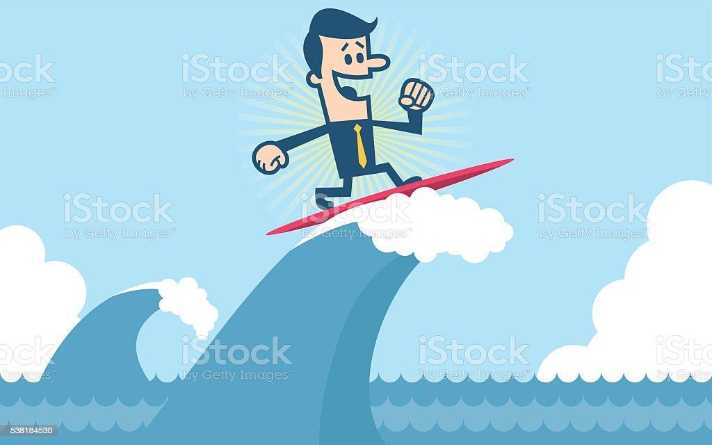 Businessman Surfing vector art illustration