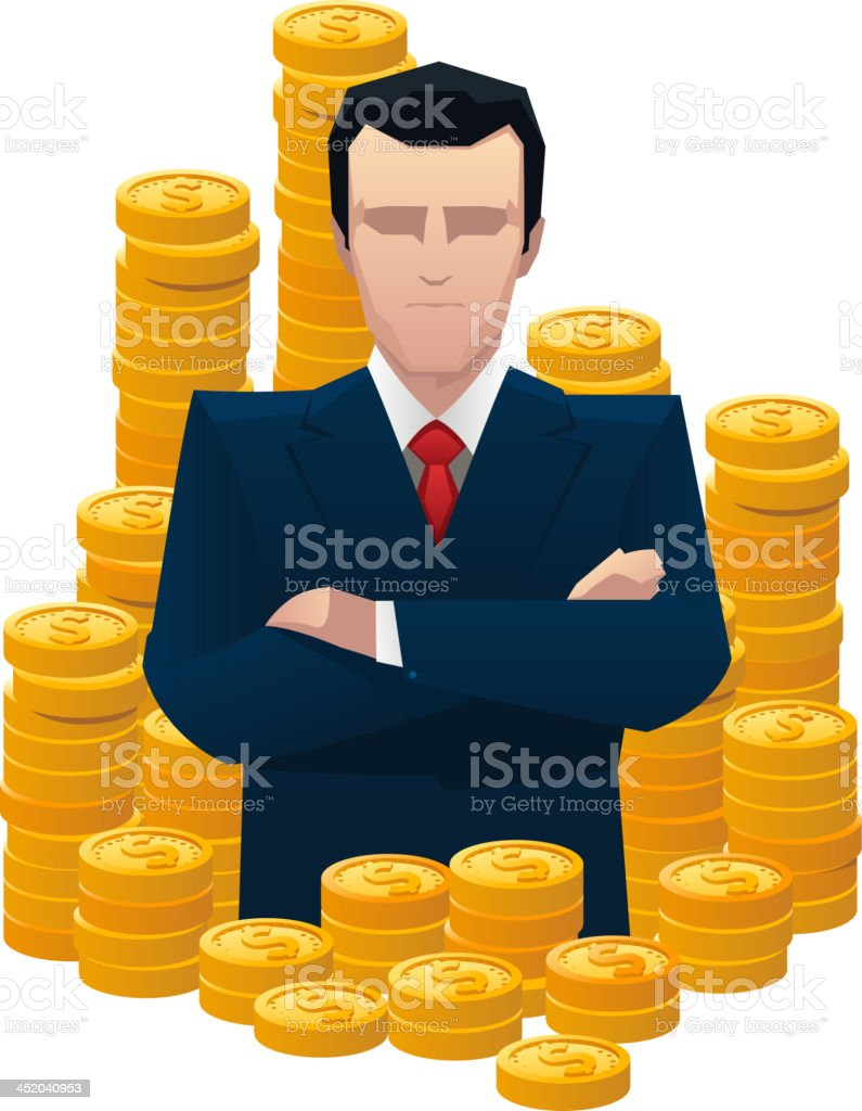 Businessman surrounded by golden coins royalty-free stock vector art