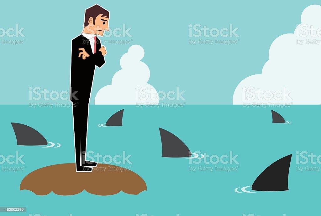 Businessman surrounded by shark vector art illustration