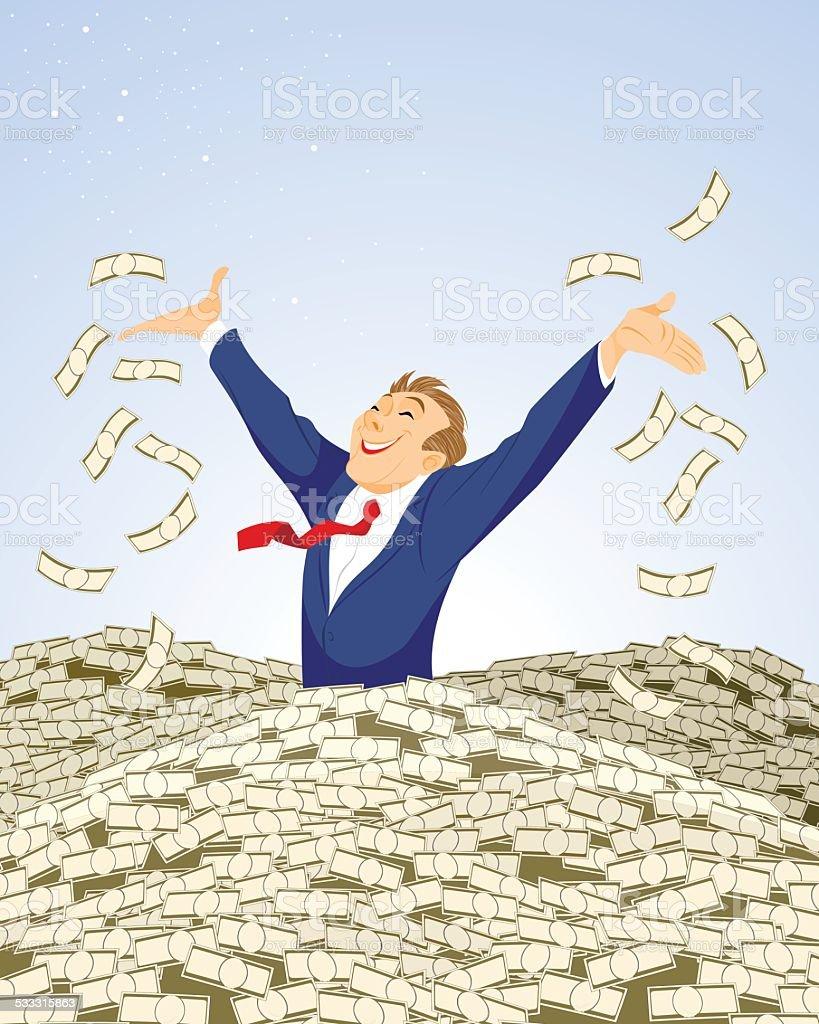 Businessman swimming in money vector art illustration