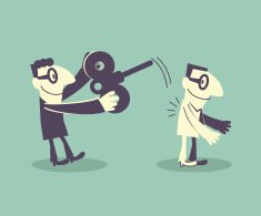 Businessman take down wind-up key from another man vector art illustration