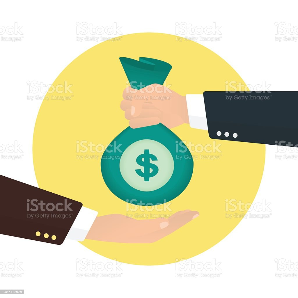 Businessman takes bag of money from another businessman vector art illustration
