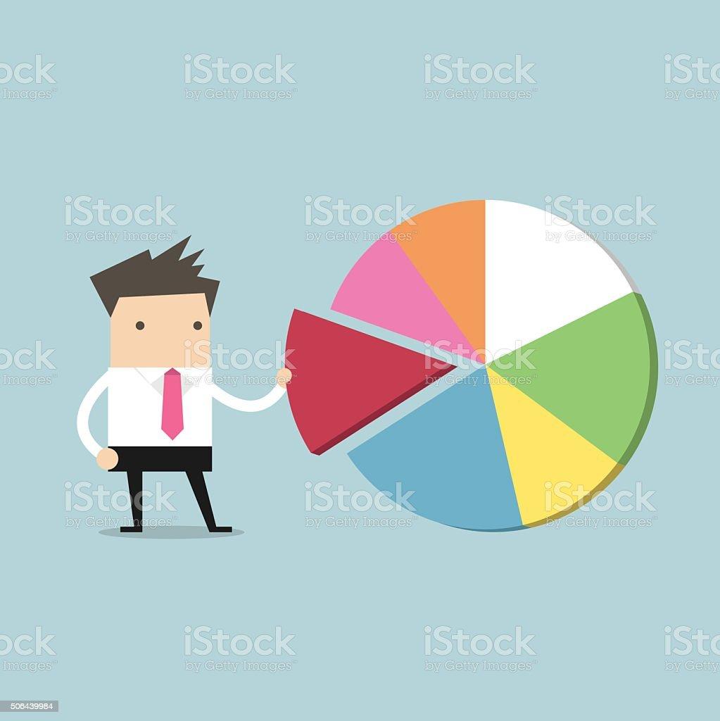 Businessman taking away a part of pie chart vector art illustration
