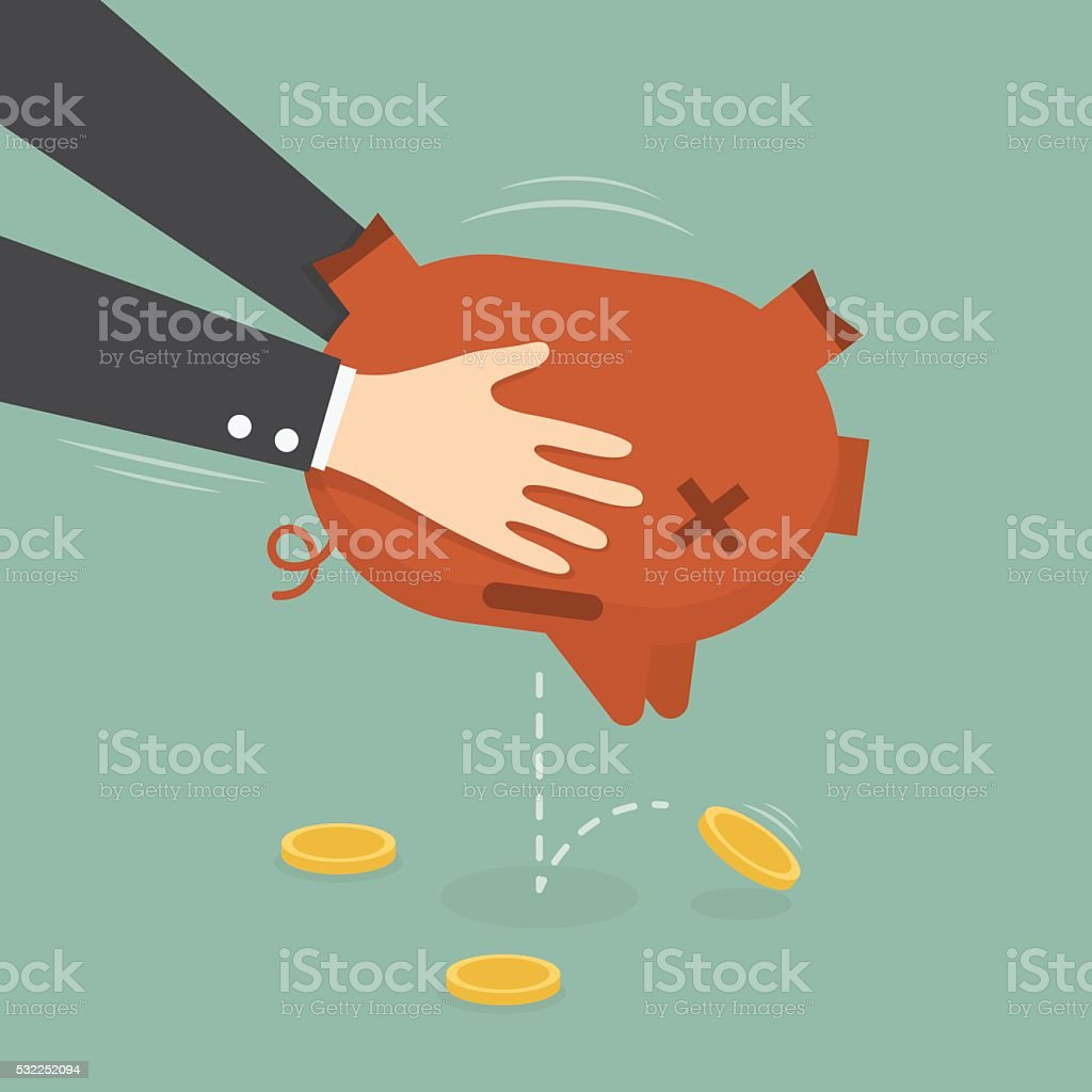 Businessman Taking Money Out of Piggy Bank. vector art illustration