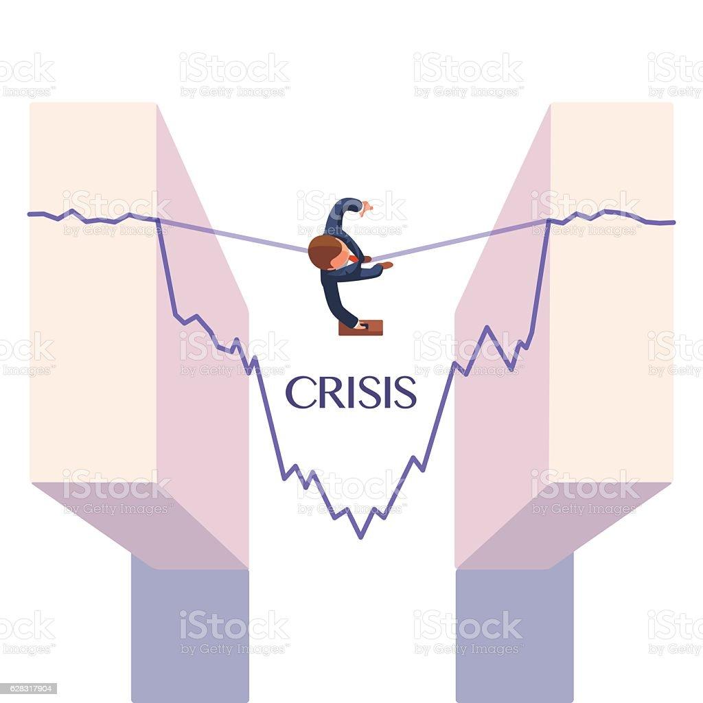 Businessman taking risk. Business metaphor vector art illustration
