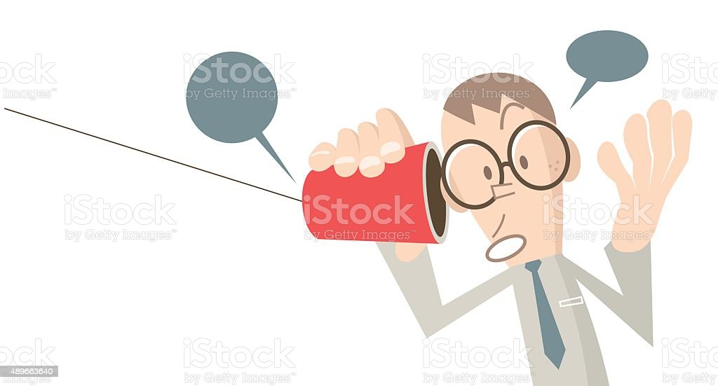 Businessman talking on paper cup phone, in a whisper vector art illustration