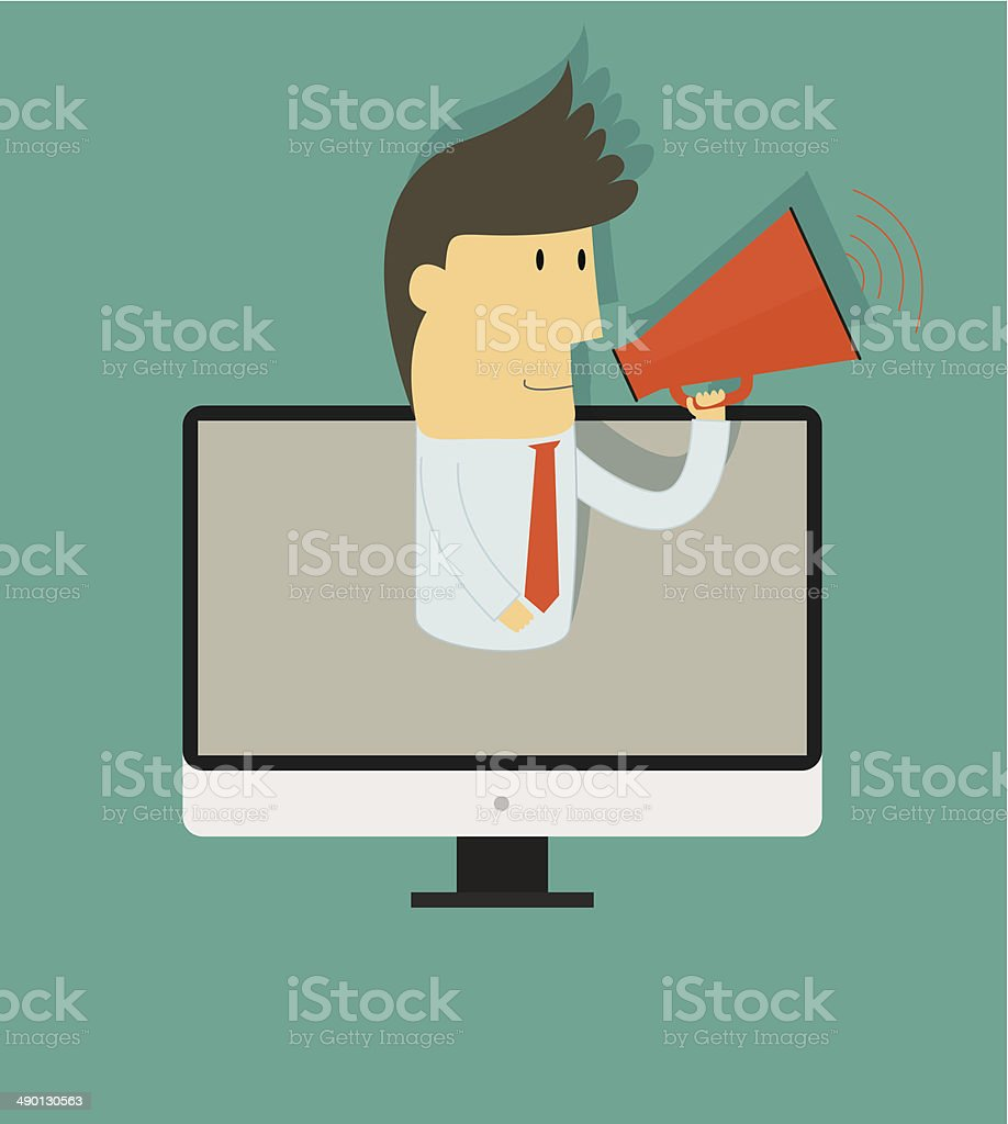 Businessman talking with megaphone on computer screen ,online royalty-free stock vector art