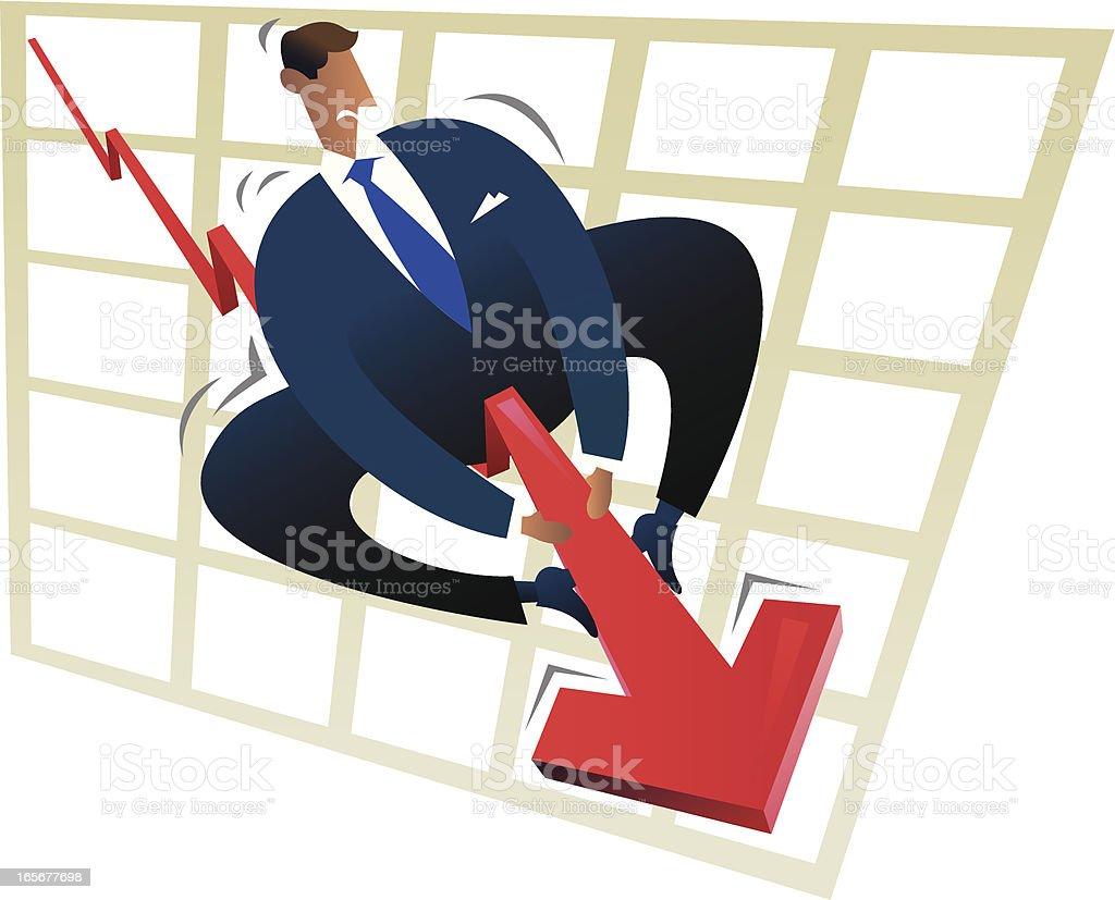 Businessman taming the financial turbulence vector art illustration