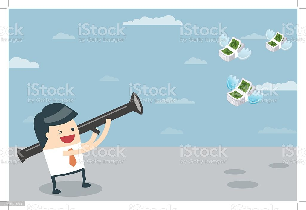 Businessman target with money royalty-free stock vector art