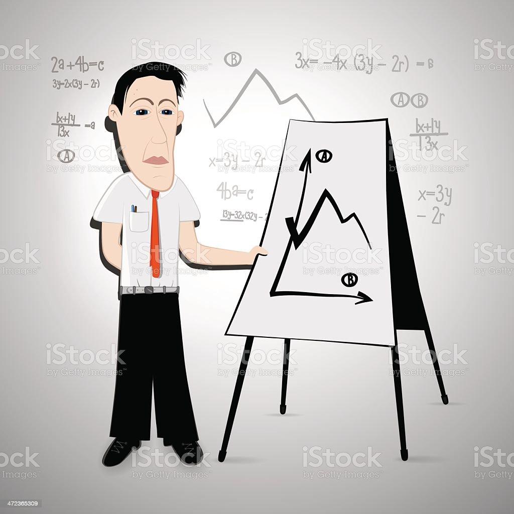 Businessman, Teacher with Flipchart royalty-free stock vector art