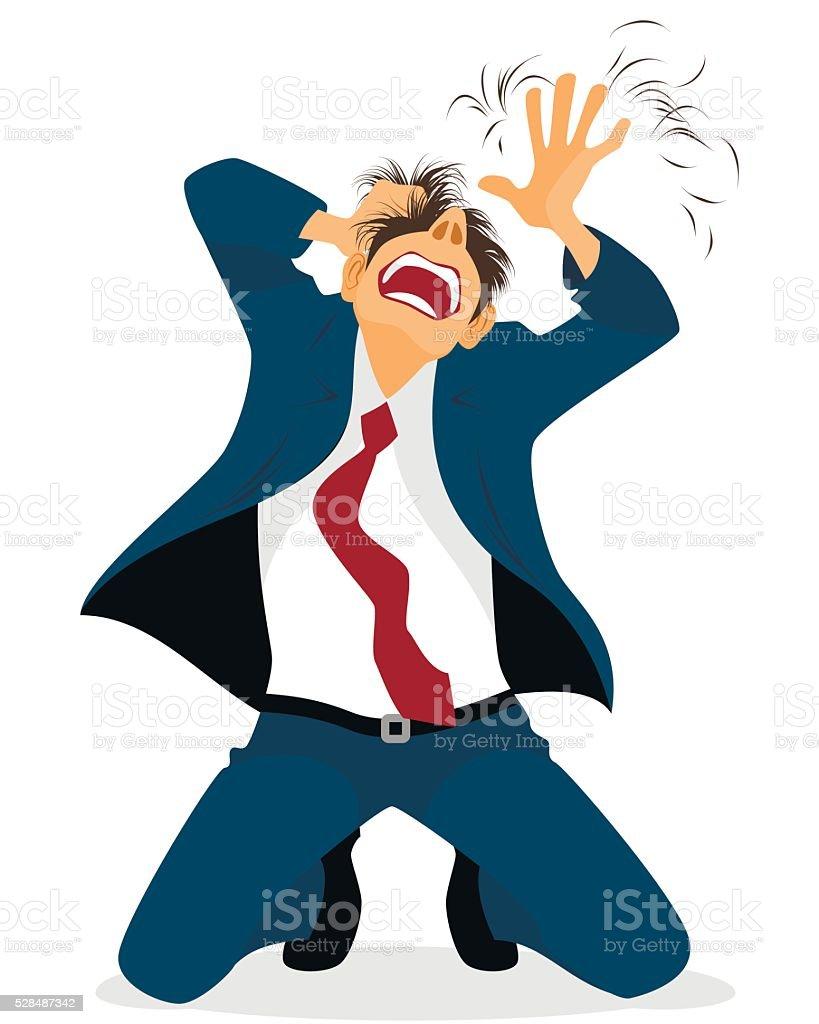Businessman tearing hair vector art illustration