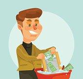 Businessman thief character launder money
