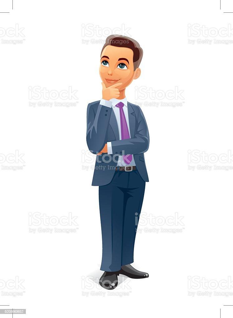 businessman think vector art illustration