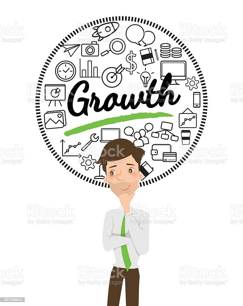 Businessman thinking about business growth. vector art illustration