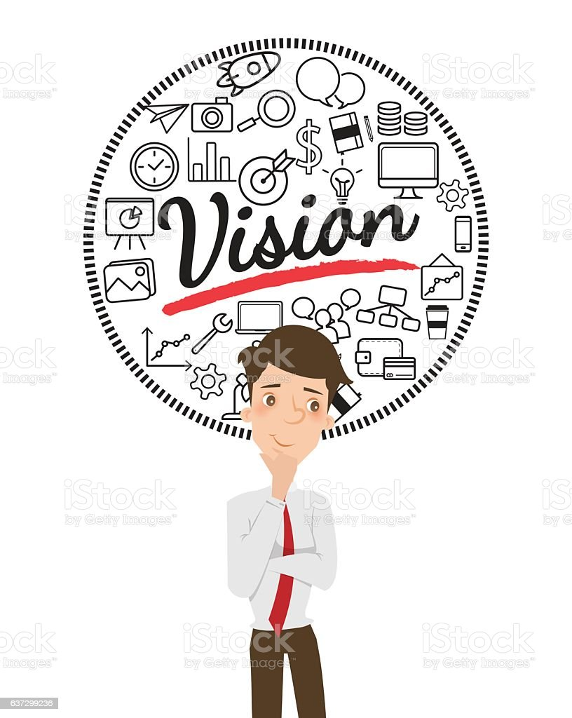 Businessman thinking about business vision. vector art illustration