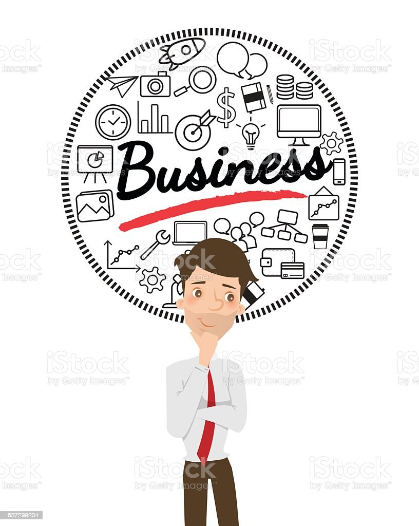 Businessman thinking about business with icon. vector art illustration