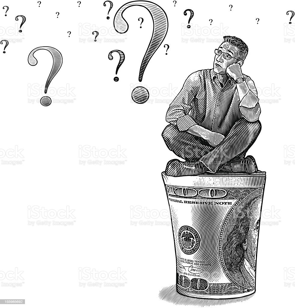 Businessman Thinking About Money royalty-free stock vector art