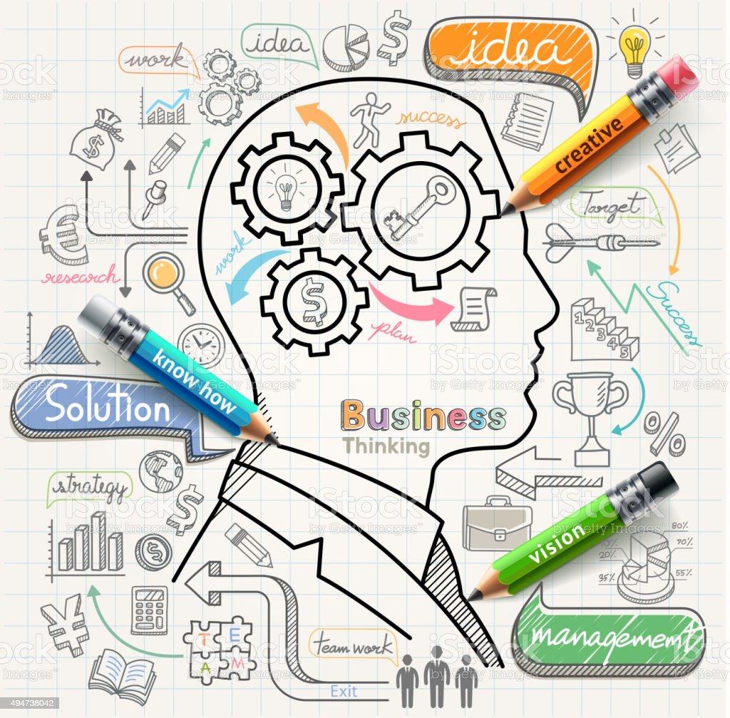Businessman thinking concept doodles icons set. vector art illustration