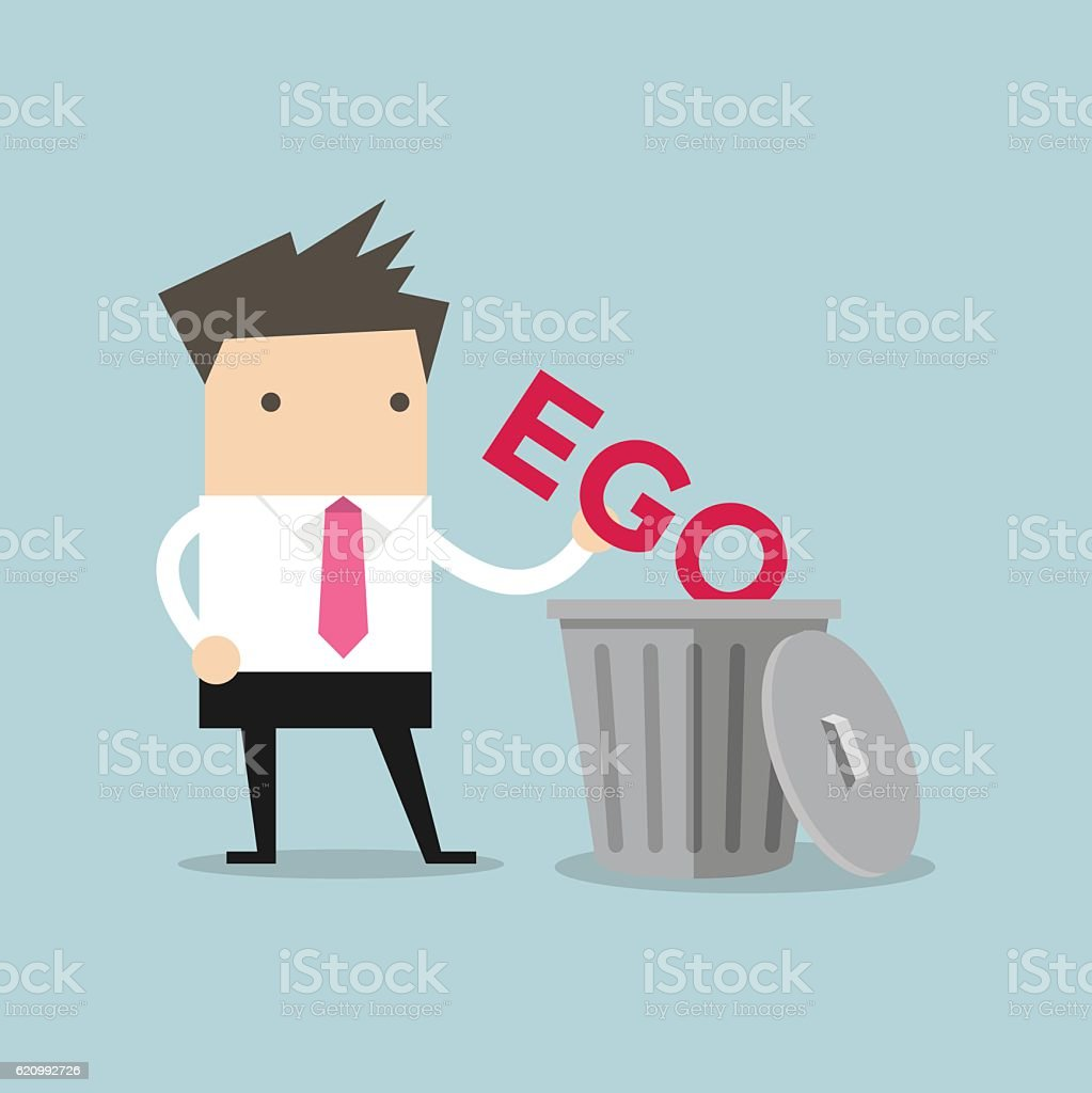 Businessman throw his ego into the trash vector art illustration
