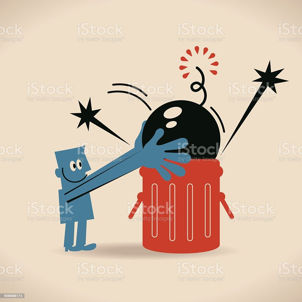Businessman throwing a bomb into a trash can vector art illustration
