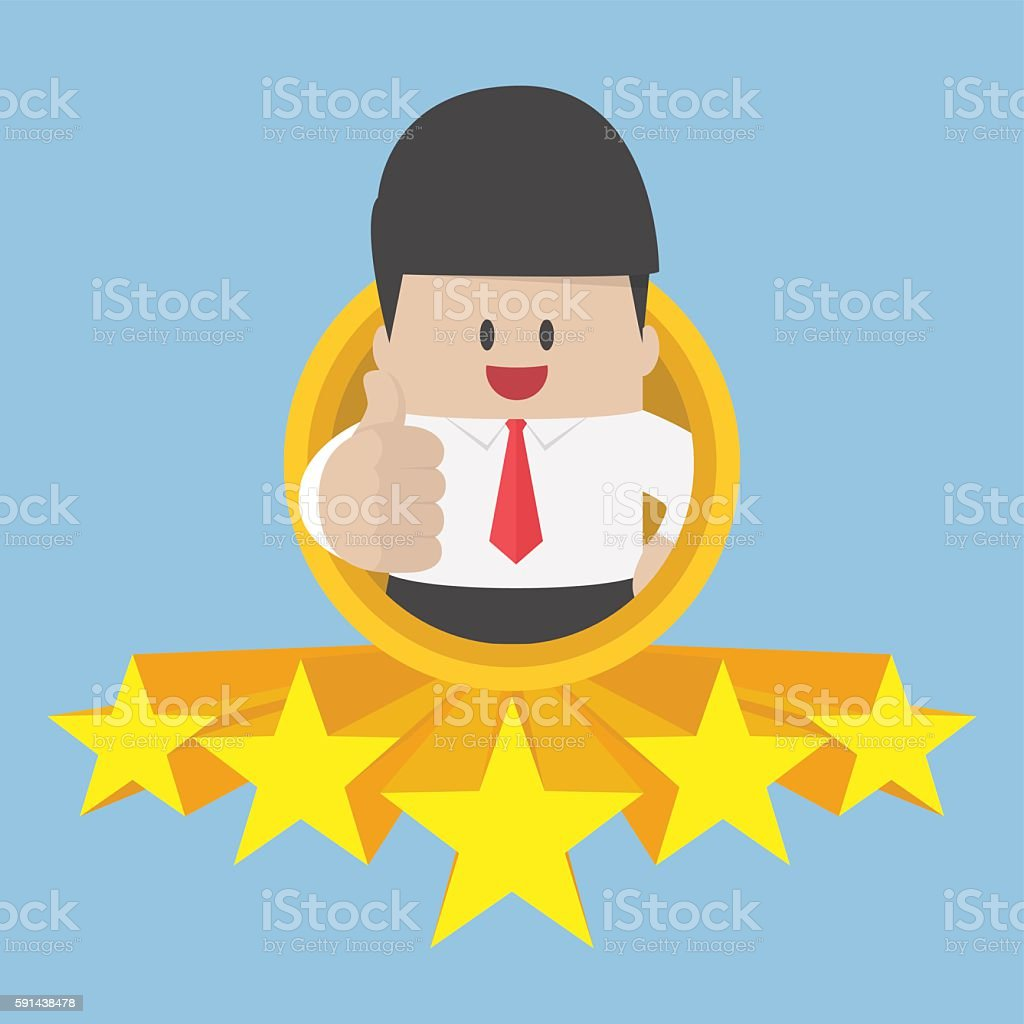 Businessman thumbs up with five star rating vector art illustration