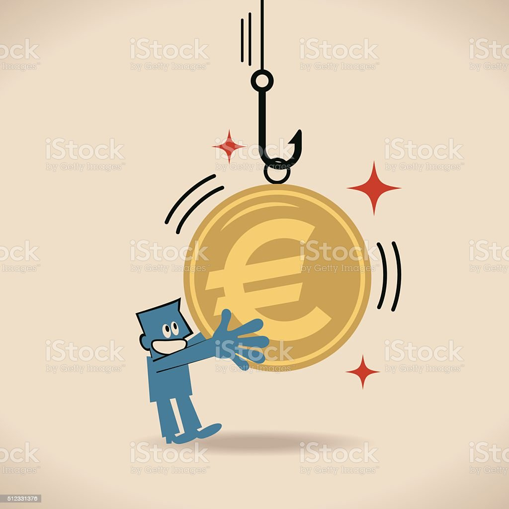 Businessman touching (holding) fishing hook with Euro sign currency (bait) vector art illustration