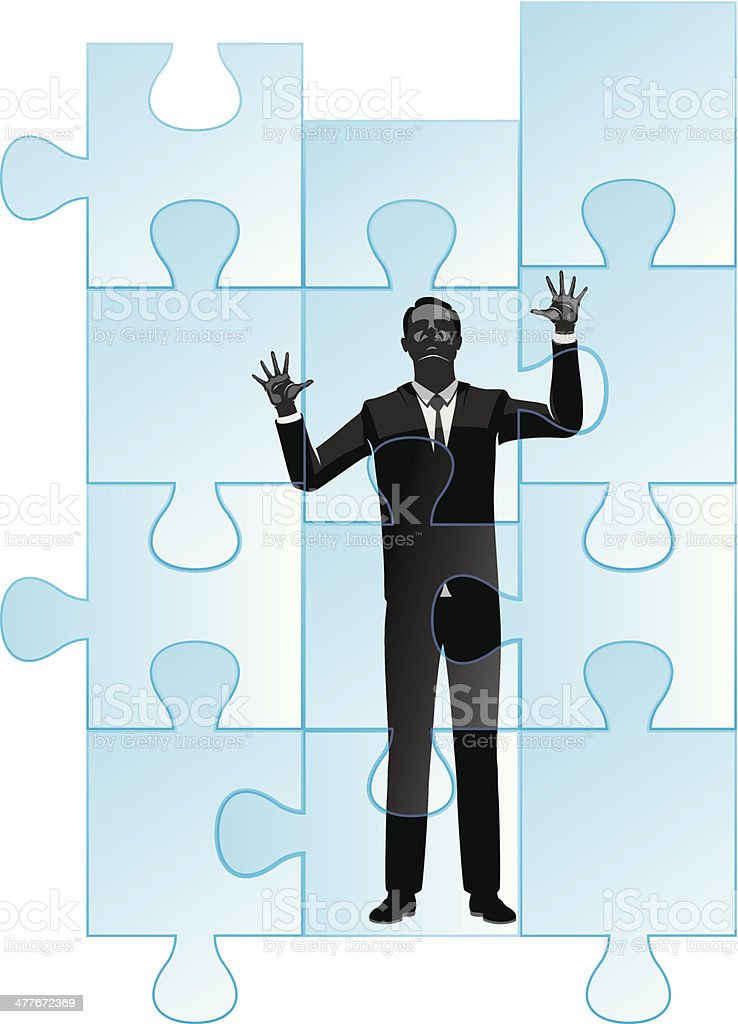 Businessman Trapped in Jig Saw Puzzle royalty-free stock vector art