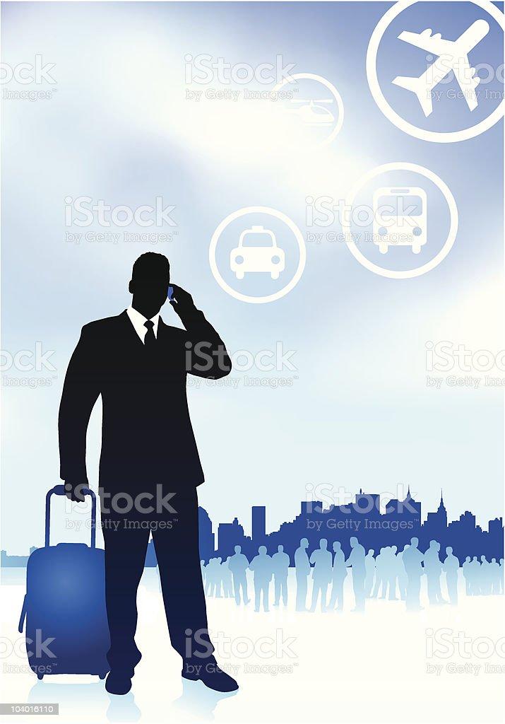 Businessman Traveler With Skyline Background royalty-free stock vector art