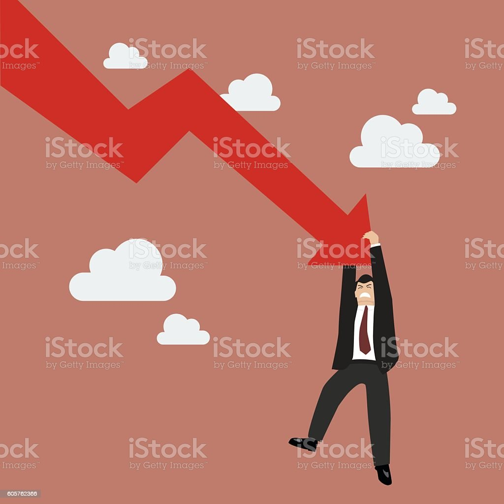 Businessman try hard to hold on falling graph down vector art illustration