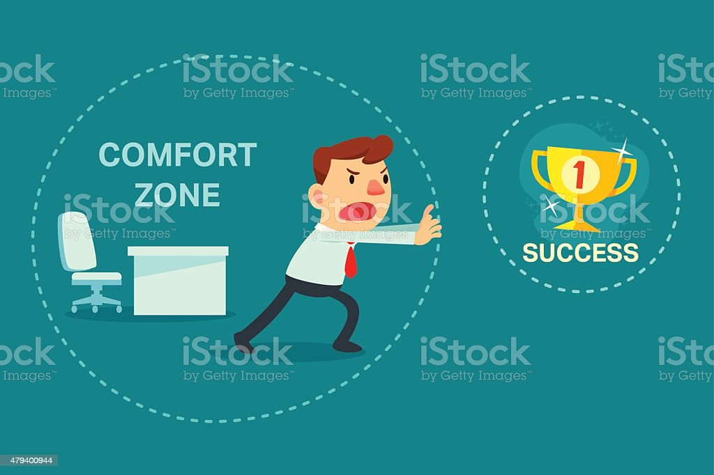businessman try to break out of comfort zone vector art illustration