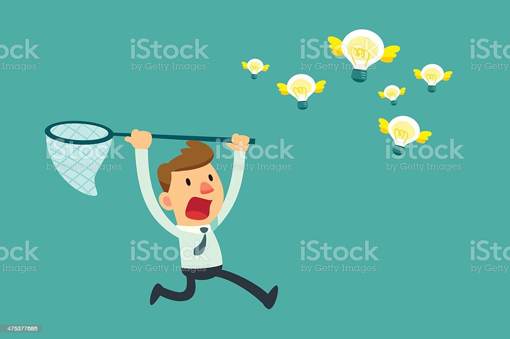 businessman try to catch flying idea bulbs vector art illustration
