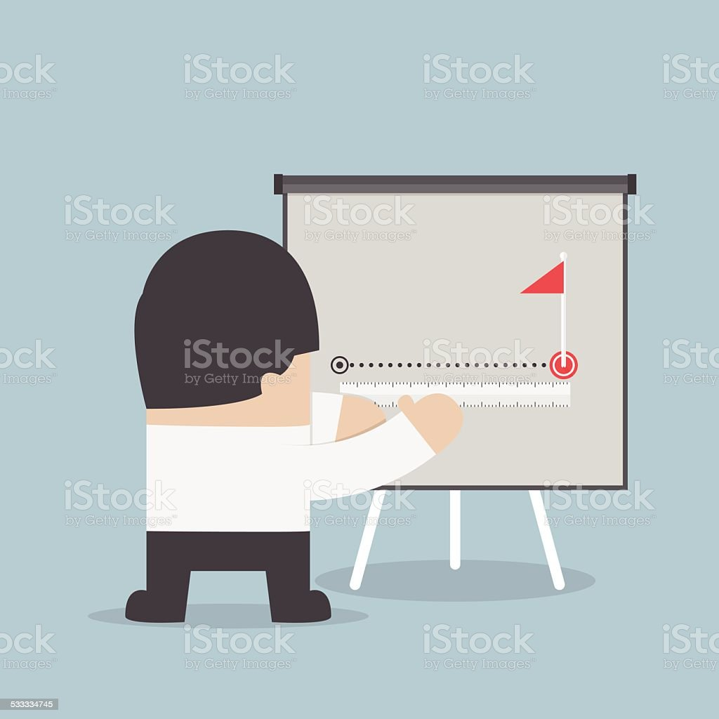Businessman try to measuring path to success vector art illustration