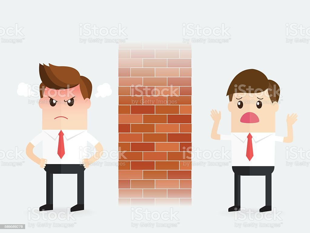 businessman trying talk to coworker partner turns into stone wall vector art illustration