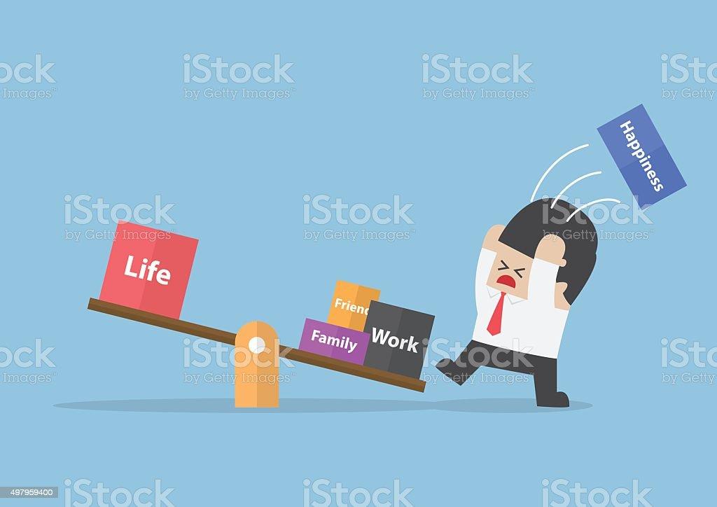 Businessman trying to balance his life vector art illustration