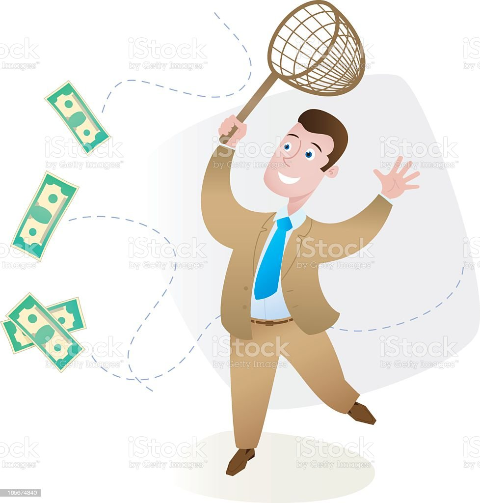 Businessman trying to catch flying money bills royalty-free stock vector art