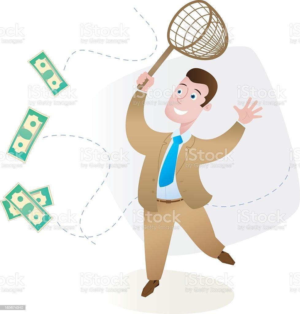 Businessman trying to catch flying money bills vector art illustration