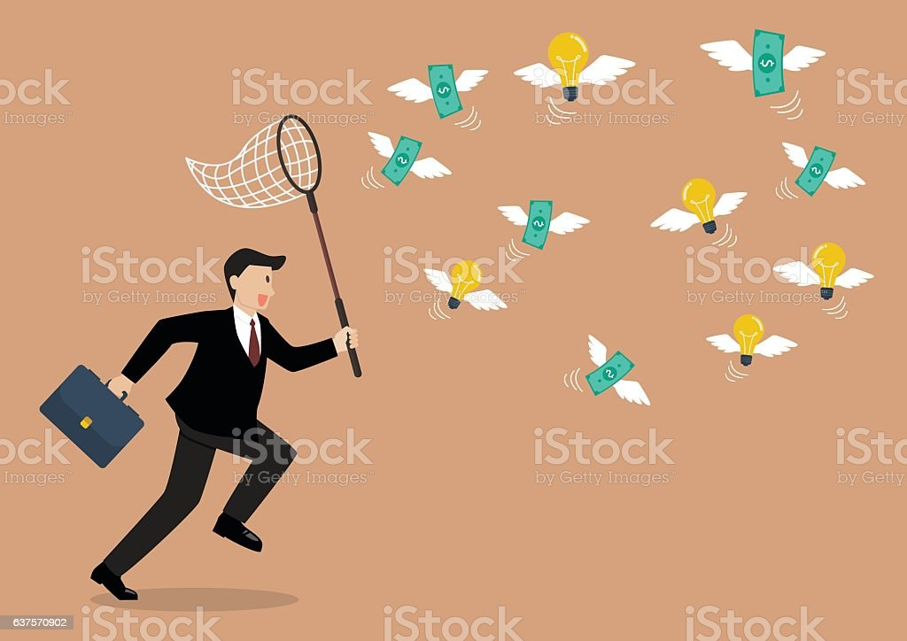 Businessman trying to catch money and lightbulb idea vector art illustration