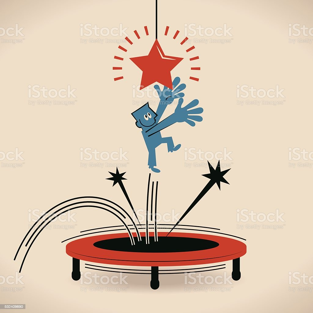 Businessman trying to catch star by jumping on trampoline vector art illustration