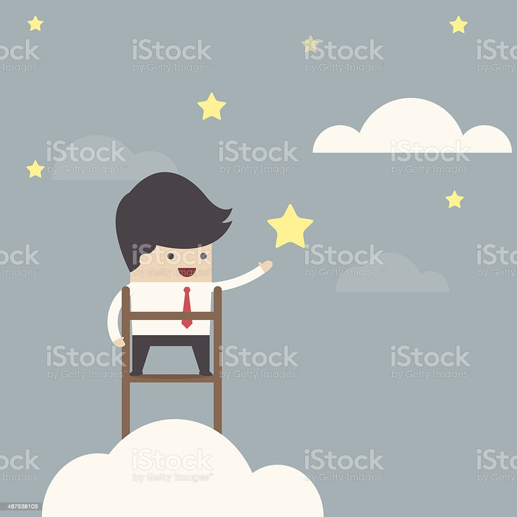 Businessman trying to catch the star royalty-free stock vector art