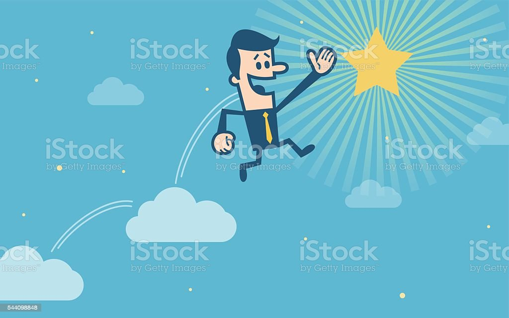 Businessman trying to catch the star vector art illustration