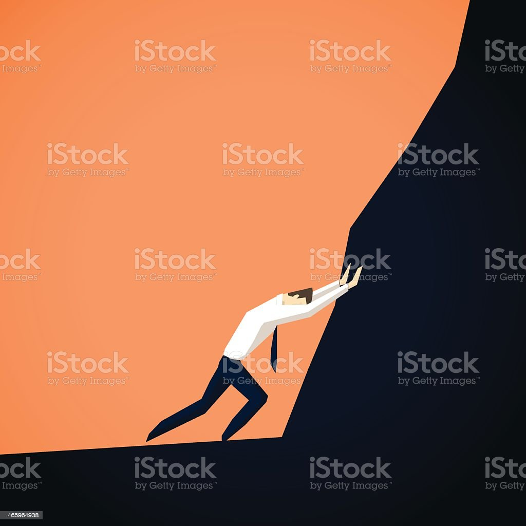 Businessman trying to move mountains vector art illustration