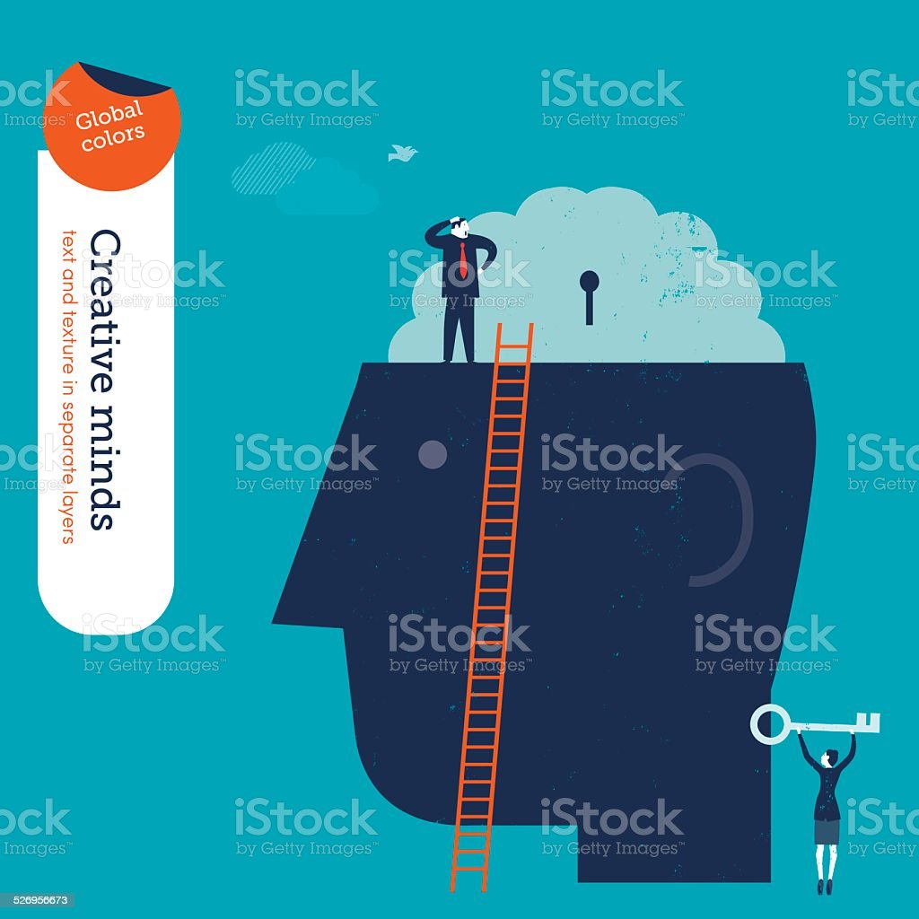 Businessman trying to open a brain businesswoman with key vector art illustration