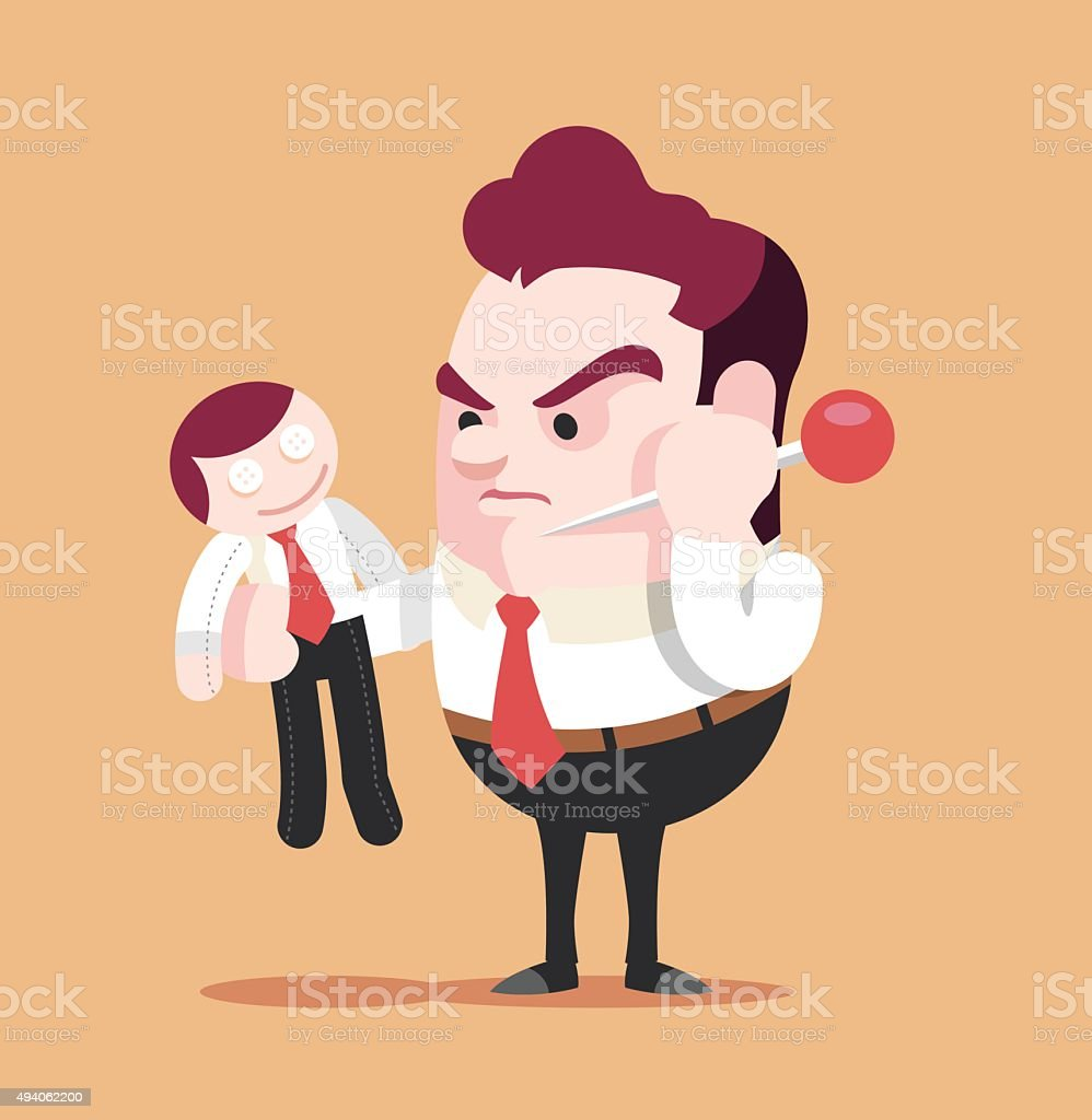 Businessman trying to prick needle into voodoo doll vector art illustration