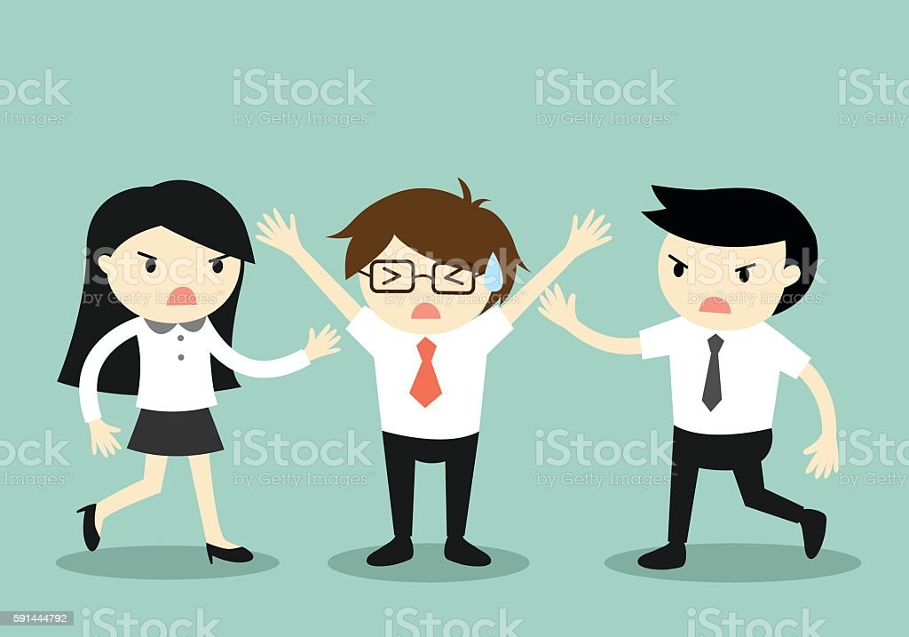 Businessman trying to stop a fight between two coworkers. vector art illustration