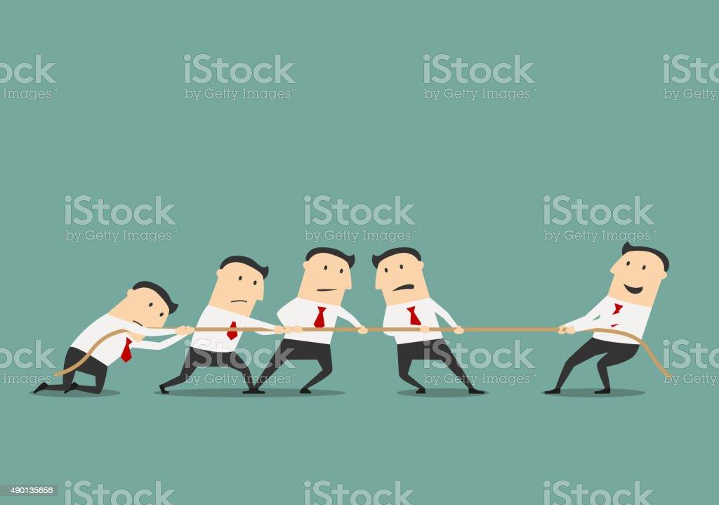 Businessman tug of war with group vector art illustration